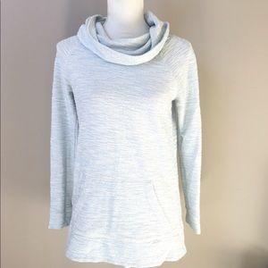 Lou & Grey Loft Cowl Neck Heather Blue sweatshirt